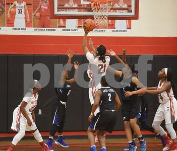 Robert E. Lee High School's Aaliyah Morgan scores the winning basket to beat John Tyler Tuesday Feb. 7, 2017 at Robert E. Lee.  (Sarah A. Miller/Tyler Morning Telegraph)