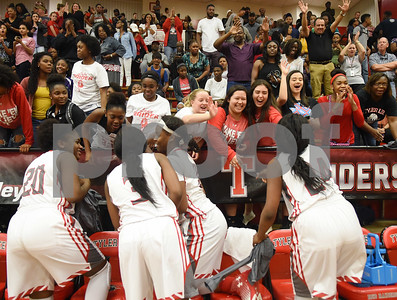 Robert E. Lee High School students and fans congratulate the varsity girls basketball team after they beat John Tyler in a close ending to their game Tuesday Feb. 7, 2017 at Robert E. Lee.  (Sarah A. Miller/Tyler Morning Telegraph)