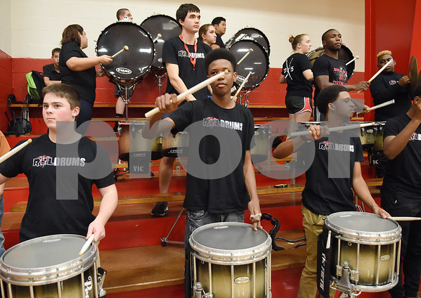 The REL drum line plays in the stands during their basketball double header against John Tyler High School Tuesday Feb. 7, 2017 at Robert E. Lee.  (Sarah A. Miller/Tyler Morning Telegraph)