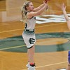 Elyria Catholic's Faith Williams drains a 3 at the buzzer to end the first quarter. Amanda K. Rundle -- The Morning Journal
