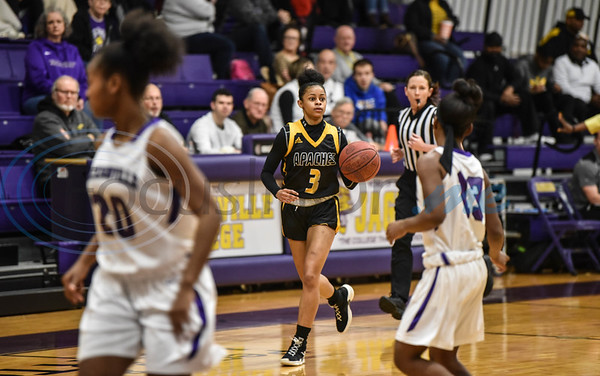 Freshman Diamond Atchinson (3) dribbles down the court in a game against Jacksonville College on Saturday, February 9. The Lady Apaches went on to win the game hosted by Jacksonville College 75-50. (Jessica T. Payne/Tyler Morning Telegraph)