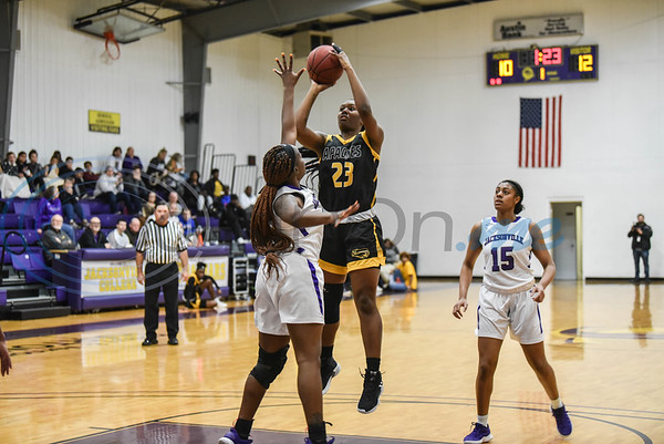 Lady Apache Frankazia Boyd (23) of Marshall, Texas goes up for a shot during a game hosted by Jacksonville College. TJC beat the Lady Jaguars 75-50 on Saturday, February 9. (Jessica T. Payne/Tyler Morning Telegraph)