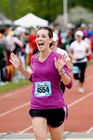 Record-Eagle/Jan-Michael Stump<br /> Runners finish the half-marathon in Saturday's 29th annual Bayshore Marathon.#4554