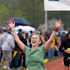 Record-Eagle/Jan-Michael Stump<br /> Runners celebrate their finish in Saturday's 29th annual Bayshore Marathon. #1583