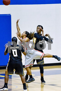 Trinity Valley College's Shakeela Fowler shoots the ball during a NJCAA Region XIV basketball tournament game at John Alexander Gym in Jacksonville, Texas, on Friday, March 10, 2017. (Chelsea Purgahn/Tyler Morning Telegraph)
