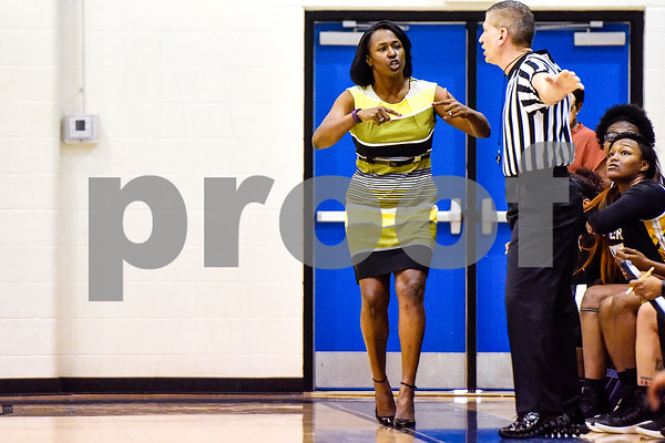 Tyler Junior College's head coach Trenia Tillis-Jones reacts to a referee's call during a NJCAA Region XIV basketball tournament game at John Alexander Gym in Jacksonville, Texas, on Friday, March 10, 2017. Trinity Valley College beat Tyler Junior College 72-58. (Chelsea Purgahn/Tyler Morning Telegraph)