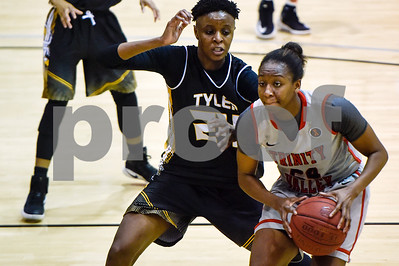 Trinity Valley College's Jordan Alexander (24) looks to pass the ball during a NJCAA Region XIV basketball tournament game at John Alexander Gym in Jacksonville, Texas, on Friday, March 10, 2017. (Chelsea Purgahn/Tyler Morning Telegraph)