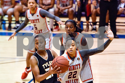 Tyler Junior College's Antoinette Shrepee (21) looks to pass the ball during a NJCAA Region XIV basketball tournament game at John Alexander Gym in Jacksonville, Texas, on Friday, March 10, 2017. Trinity Valley College beat Tyler Junior College 72-58. (Chelsea Purgahn/Tyler Morning Telegraph)