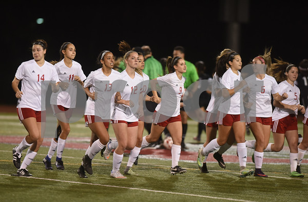 The REL girls soccer team returns from the National Anthem during the District 11-6A finale against John Tyler at Robert E. Lee High School Friday night March 10, 2017.  (Sarah A. Miller/Tyler Morning Telegraph)