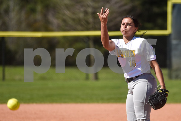Tyler Junior College's Abbie Dart (18) pitches during a college baseball game at The Brook Hill School in Bullard, Texas, on Monday, March 12, 2018. (Chelsea Purgahn/Tyler Morning Telegraph)