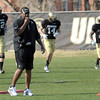 Coach Jon Embree blows his whistle during spring football practice at the University of Colorado in Boulder, Colorado March 15, 2012.  CAMERA/MARK LEFFINGWELL