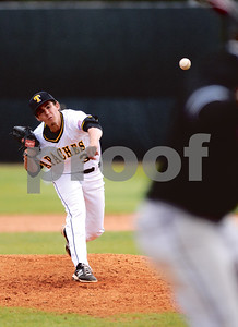 TJC freshman pitcher Daniel Brown attacks the plate with a strike on Friday afteroon during a game against Arkansas Baptist College at Mike Carter Field. (Victor Texcucano/Staff)