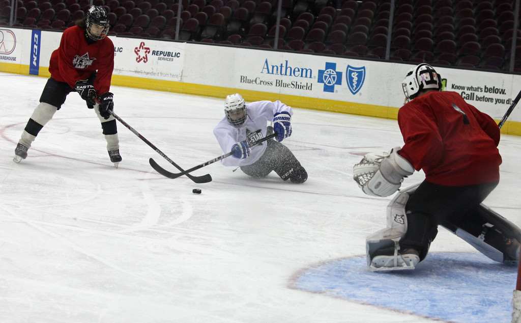 . Nate Coyle of Brooklyn falls and attempts to shoot past CJ Natale of NDCL as goalie Logan Perkins of Midview protects during the GCHSHL All Star Game. Randy Meyers -- The Morning Journal