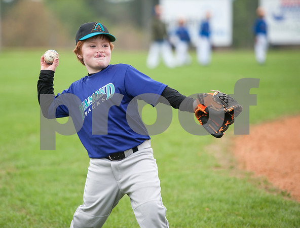 Noah McBride, 8, throws the ball during a warm up with the Diamondbacks, a Rose Capital West Little League 5-pitch team, Saturday March 19, 2016 at Faulkner Park.  (Sarah A. Miller/Tyler Morning Telegraph