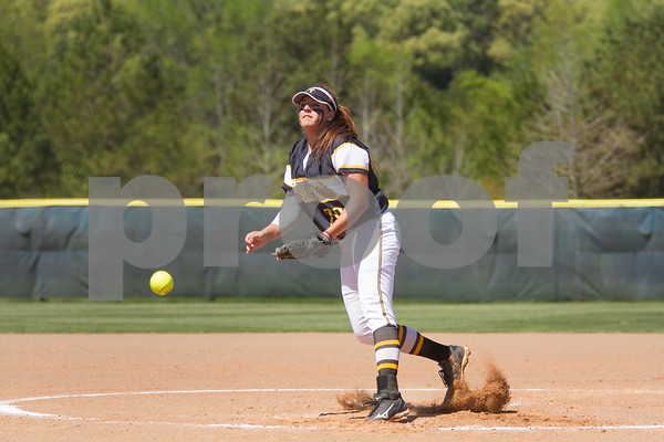 TJC's pitcher Abby Walker was the winning pitcher in Game 1 of the double hitter.  The Apaches defeated Angelina College 3 to 2. / photo by john Murphy
