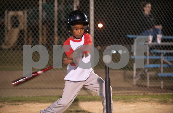 Kayden Carey, 6, of Tyler, bats during T-ball practice with the Rose Capital East Bluejays at Golden Road Park in Tyler Wednesday March 2, 2016. The coed team is made up of children ages 3, 4, and 5. The team's first game will be held opening day Saturday March 19.   (Sarah A. Miller/Tyler Morning Telegraph)
