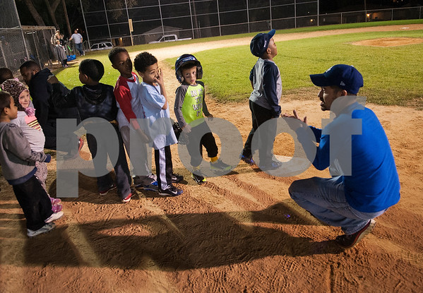 Coach Jason Reed talks to his team during practice with the Rose Capital East Bluejays at Golden Road Park in Tyler Wednesday March 2, 2016. The coed team is made up of children ages 3, 4, and 5. The team's first game will be held opening day Saturday March 19.   (Sarah A. Miller/Tyler Morning Telegraph)