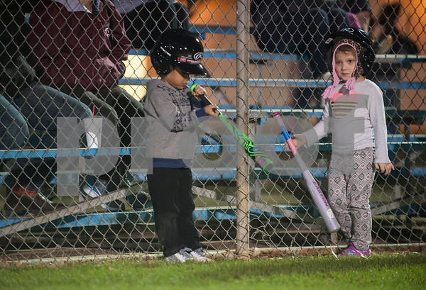 Alex Tran, 4, of Tyler, and Sophia Pratt, 4, of Whitehouse, wait to bat during T-ball practice with the Rose Capital East Bluejays at Golden Road Park in Tyler Wednesday March 2, 2016. The coed team is made up of children ages 3, 4, and 5. The team's first game will be held opening day Saturday March 19.   (Sarah A. Miller/Tyler Morning Telegraph)