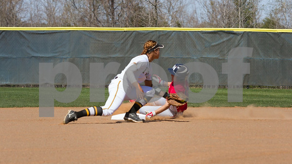 TJC's Jazlyn Crowder tags out Northeast Community College's Brittany Bagget in the first inning.  TJC went on to defeat Northeast Texas 10 to 1 in the opening game of Regional XIV play.