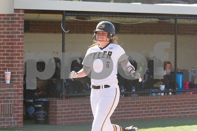 Alica Garcia is all smiles after hitting a Grand Slam in the bottom of the 3rd inning.  TJC went on to defeat Northeast Texas CC 10 to 1 in the opening of Regioanl XIV play.   Photo by John Murphy