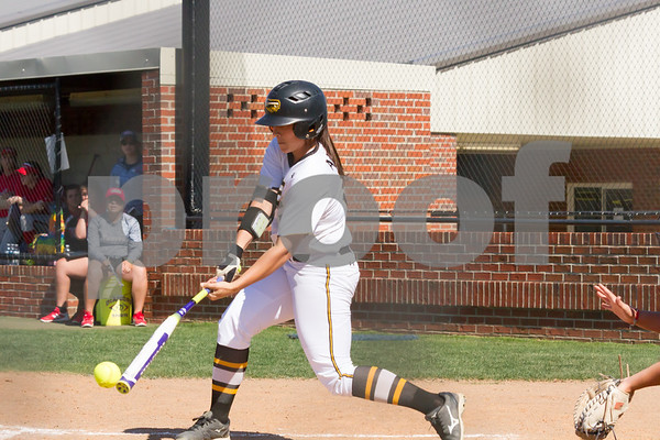 Tanna Huie drives the ball.  TJC went on to defeat Northeast Texas CC in game 1 of Region XIV 10 to 1.  phot by John Murphyff