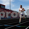 A track athlete competes during a track and field meet at Van High School in Van, Texas, on Thursday, March 22, 2018. (Chelsea Purgahn/Tyler Morning Telegraph)