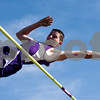 Eustace's David Austin competes in pole vault during a track and field meet at Van High School in Van, Texas, on Thursday, March 22, 2018. (Chelsea Purgahn/Tyler Morning Telegraph)