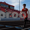 A Van track athlete competes during a track and field meet at Van High School in Van, Texas, on Thursday, March 22, 2018. (Chelsea Purgahn/Tyler Morning Telegraph)