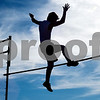 A pole vault athlete competes during a track and field meet at Van High School in Van, Texas, on Thursday, March 22, 2018. (Chelsea Purgahn/Tyler Morning Telegraph)