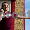 A shotput athlete competes during a track and field meet at Van High School in Van, Texas, on Thursday, March 22, 2018. (Chelsea Purgahn/Tyler Morning Telegraph)