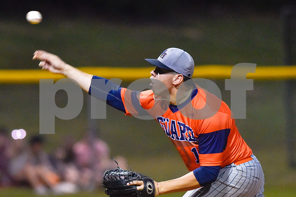 Brook Hill's Miguel Vega pitches during a high school baseball game at Grace Community School in Tyler, Texas, on Monday, March 26, 2018. (Chelsea Purgahn/Tyler Morning Telegraph)