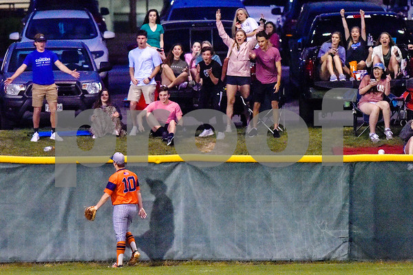 Brook Hill's Campbell Fletcher (10) looks towards the parking lot as Grace fans cheer after Gabe Craig, not pictured, hit a home run during a high school baseball game at Grace Community School in Tyler, Texas, on Monday, March 26, 2018. (Chelsea Purgahn/Tyler Morning Telegraph)