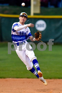 Grace's Cole Reed throws the ball to first base during a high school baseball game at Grace Community School in Tyler, Texas, on Monday, March 26, 2018. (Chelsea Purgahn/Tyler Morning Telegraph)