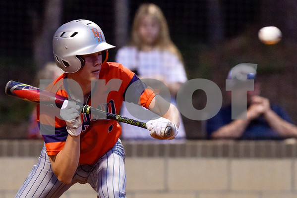 A Brook Hill player prepares to bunt the ball during a high school baseball game at Grace Community School in Tyler, Texas, on Monday, March 26, 2018. (Chelsea Purgahn/Tyler Morning Telegraph)