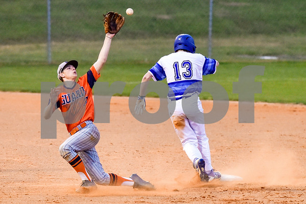 Brook Hill's Conner Carson (3) reaches up for the ball as a Grace player runs to second base during a high school baseball game at Grace Community School in Tyler, Texas, on Monday, March 26, 2018. (Chelsea Purgahn/Tyler Morning Telegraph)
