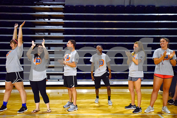 UT Tyler athletes cheer on special olympians during the Special Olympics at UT Tyler in Tyler, Texas, on Monday, March 27, 2017. Nearly 40 special olympians played basketball, soccer, track and field, volleyball and ping pong with over 100 UT Tyler athletes. (Chelsea Purgahn/Tyler Morning Telegraph)