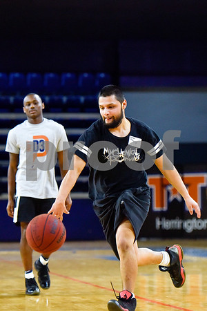 Manuel Gonzalez dribbles the ball down the court during the Special Olympics at UT Tyler in Tyler, Texas, on Monday, March 27, 2017. Nearly 40 special olympians played basketball, soccer, track and field, volleyball and ping pong with over 100 UT Tyler athletes. (Chelsea Purgahn/Tyler Morning Telegraph)