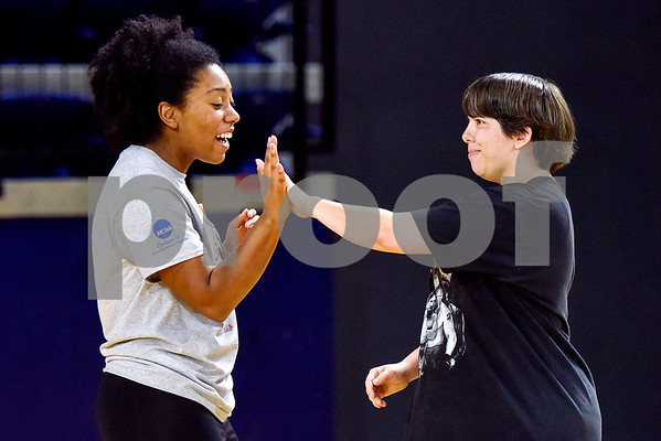 Samantha Polk gives Catherine Young a high five during a volleyball game at the Special Olympics at UT Tyler in Tyler, Texas, on Monday, March 27, 2017. Nearly 40 special olympians played basketball, soccer, track and field, volleyball and ping pong with over 100 UT Tyler athletes. (Chelsea Purgahn/Tyler Morning Telegraph)