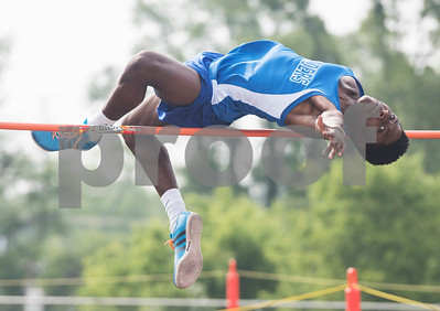 Chima Enyinna of Sunnyvale High School competes in the high jump during the Class 3A Region II meet at Wildcat Stadium in Whitehouse Friday April 28, 2017.  (Sarah A. Miller/Tyler Morning Telegraph)