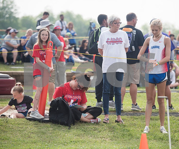 Sydney Gerbine of Sabine High School stands by her family including her mother D'Ann Gerbine and grandmother Pam Sondrel after competing in the triple jump at the Class 3A Region II meet at Wildcat Stadium in Whitehouse Friday April 28, 2017.  (Sarah A. Miller/Tyler Morning Telegraph)