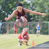 Kierra Yarbrough of Arp High School competes in the triple jump during the Class 3A Region II meet at Wildcat Stadium in Whitehouse Friday April 28, 2017.<br /> <br /> (Sarah A. Miller/Tyler Morning Telegraph)