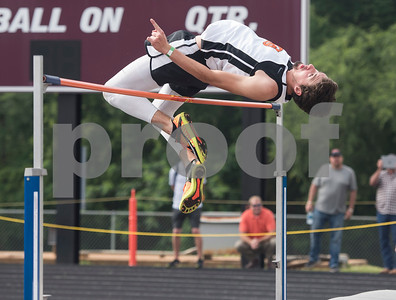 Trent Easley of Grand Saline High School competes in the high jump during the Class 3A Region II meet at Wildcat Stadium in Whitehouse Friday April 28, 2017.  (Sarah A. Miller/Tyler Morning Telegraph)