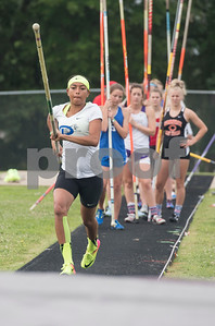 Girls warm up for the pole vault during the Class 3A Region II meet at Wildcat Stadium in Whitehouse Friday April 28, 2017.  (Sarah A. Miller/Tyler Morning Telegraph)
