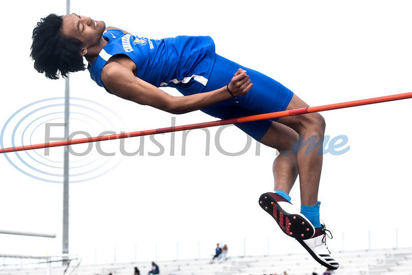 A Cumberland Academy athlete competes in a track and field meet in Whitehouse, Texas, on Thursday, March 28, 2019. (Chelsea Purgahn/Tyler Morning Telegraph)