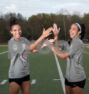 Robert E. Lee High School girls soccer team seniors Priscilla Rincon and Jazmine Navarro are pictured doing their secret handclap at school's field Thursday March 9, 2017. The two have been friends since junior high school and have been playing soccer since childhood.   (Sarah A. Miller/Tyler Morning Telegraph)