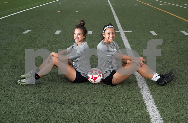 Robert E. Lee High School girls soccer team seniors Priscilla Rincon and Jazmine Navarro are pictured at school's field Thursday March 9, 2017. The two have been friends since junior high school and have been playing soccer since childhood.   (Sarah A. Miller/Tyler Morning Telegraph)