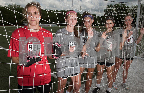 Robert E. Lee goal keeper Madelyn Filla and defenders Claire Carnes, Abby Tillson, Kourtney Hitchcock and Anna Joy Kuern.   (Sarah A. Miller/Tyler Morning Telegraph)