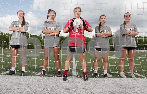 Robert E. Lee goal defenders Claire Carnes, Abby Tillson, goal keeper Madelyn Fill and defenders Kourtney Hitchcock and Anna Joy Kuern.   (Sarah A. Miller/Tyler Morning Telegraph)