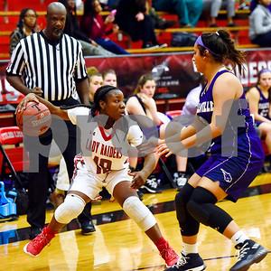 Robert E. Lee senior Tyreesha Blaylock (10) pivots as she dribbles the ball during a high school basketball game at Robert E. Lee High School in Tyler, Texas, on Tuesday, Nov. 14, 2017. (Chelsea Purgahn/Tyler Morning Telegraph)