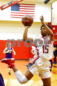 Robert E. Lee Ja'Kayla Bowie (15) jumps to shoot the ball during a high school basketball game at Robert E. Lee High School in Tyler, Texas, on Tuesday, Nov. 14, 2017. (Chelsea Purgahn/Tyler Morning Telegraph)